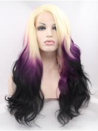 "Synthetic Ombre/2 Tone 26"" Curly Lace Front Without Bangs Long Wigs"