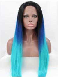 "Synthetic Ombre/2 Tone 30"" Straight Lace Front Without Bangs Long Wigs"