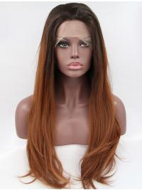 "Synthetic Ombre/2 Tone 26"" Wavy Lace Front Layered Long Wigs"