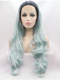 """Synthetic Lace Front 28"""" Wavy Ombre/2 Tone Layered Long Wigs"""