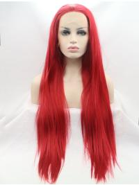 """Synthetic Lace Front 30"""" Straight Red Layered Long Wigs"""