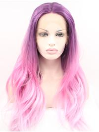 "Synthetic Lace Front 23"" Wavy Ombre/2 Tone Without Bangs Long Wigs"