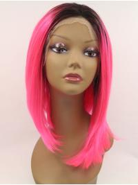 """Synthetic Lace Front 13"""" Straight Red Without Bangs Chin Length Wigs"""