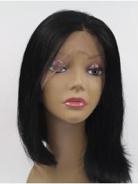 """Synthetic Lace Front 13"""" Straight Black Without Bangs Chin Length Wigs"""