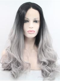 """Synthetic Lace Front 24"""" Curly Ombre/2 Tone Without Bangs Long Wigs"""