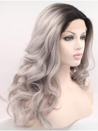 """18"""" Curly Grey Without Bangs Synthetic Shoulder Length Lace Front Wigs"""