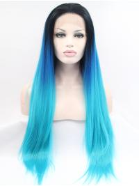"30"" Straight Ombre/2 Tone Without Bangs Synthetic Long Lace Front Wigs"