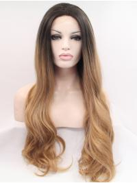 "30"" Wavy Ombre/2 Tone Without Bangs Synthetic Long Lace Front Wigs"