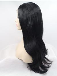 """21"""" Wavy Black Layered Synthetic Long Lace Front Wigs"""
