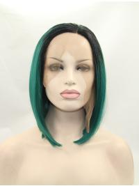 """Synthetic Chin Length Ombre/2 Tone Lace Front 13"""" Without Bangs Straight Wigs"""