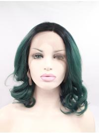 "Synthetic Shoulder Length Ombre/2 Tone Lace Front 15"" Without Bangs Curly Wigs"