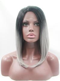 "Synthetic Chin Length Ombre/2 Tone Lace Front 12"" Without Bangs Straight Wigs"