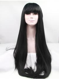 "With Bangs 42"" Straight Black Long Lace Front Synthetic Wigs"