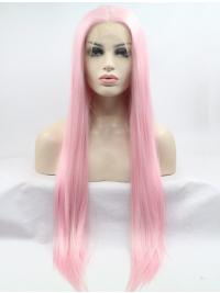 """Without Bangs 30"""" Straight Pink Long Lace Front Synthetic Wigs"""