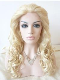 """Without Bangs 18"""" Curly Blonde Long Lace Front Synthetic Wigs"""