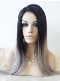 "Without Bangs 22"" Straight Ombre/2 Tone Long Lace Front Synthetic Wigs"