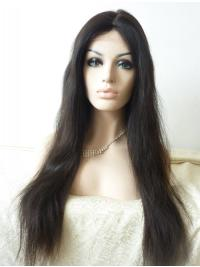 "Without Bangs 27"" Straight Black Long Lace Front Synthetic Wigs"