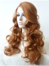 "Without Bangs 21"" Curly Blonde Long Lace Front Synthetic Wigs"