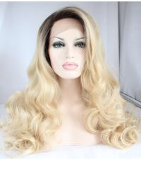"""18"""" Curly Synthetic Blonde Without Bangs Long Lace Front Wigs"""