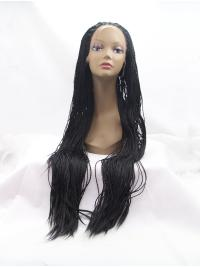 "40"" Curly Synthetic Black Without Bangs Long Lace Front Wigs"