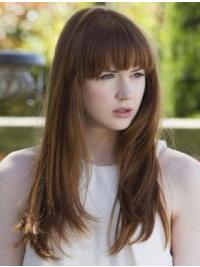 "Straight Brown Capless 18"" With Bangs High Quality Karen Gillan Wigs"