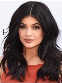 "Remy Human Hair Black 15"" Lace Front Kylie Jenner Wigs"