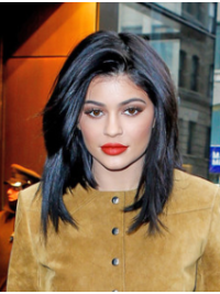 """Black Straight 12"""" Without Bangs Kylie Jenner Hair"""