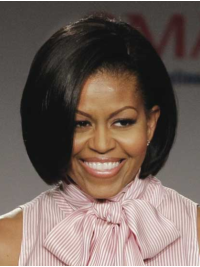 Chin Length Straight Full Lace Black Bobs Michelle Obama