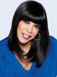 Straight Long Wendy Williams Lace Front Wigs With Bangs