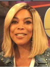 """14"""" Lace Front Remy Human Hair Bobs Shoulder Length Blonde Straight Wendy Williams Wigs"""