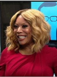 """Wavy Lace Front Shoulder Length Blonde 13"""" Without Bangs Synthetic Wendy Williams Wigs"""