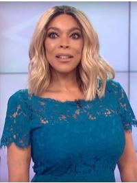 """Synthetic 14"""" Shoulder Length Blonde Without Bangs Wavy Lace Front Wendy Williams Wigs"""