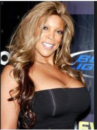 "Synthetic 24"" Long Blonde Without Bangs Curly Capless Wendy Williams Wigs"