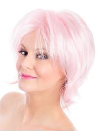 "Straight Bobs Pink 8"" Capless Wig Fashion"