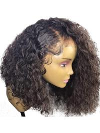 Curly 360 Lace Frontal Wig Pre Plucked With Baby Hair 180% Density Short Human Hair Bob Wigs