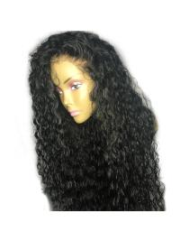180% Density Curly Remy Hair Pre Plucked Hairline With Baby Hair Bleached Knots