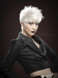 Young Fashion Powerful Short White Mono Capless Human Wigs