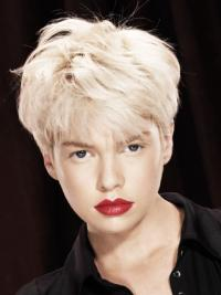 Young Fashion Platinum Blonde Short Capless Mono Straight Wigs