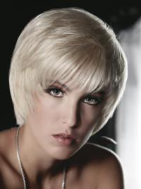 Young Fashion Platinum Blonde Short Mono Wigs