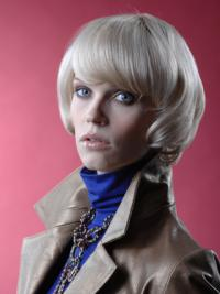 Young Fashion Platinum Blonde Soft Straight Bob Wigs