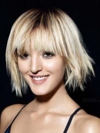 Young Fashion Comfortable Blonde Chin Length Girl Wigs