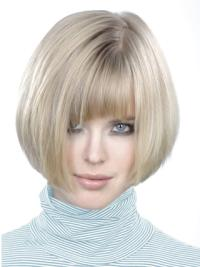 Young Fashion Platinum Blonde Chin Length Straight Wigs