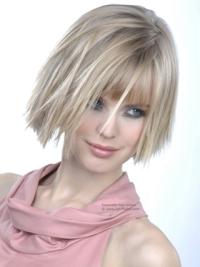 Young Fashion Platinum Blonde Straight Shape Chin Length Girl Wigs