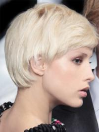 Young Fashion Platinum Blonde Short Layers Mono Top Grey Wigs