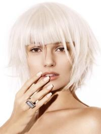 Young Fashion White Bobs With Side Bangs Wigs