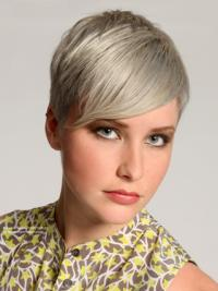 Grey Silver Straight Short Lace Front Wigs
