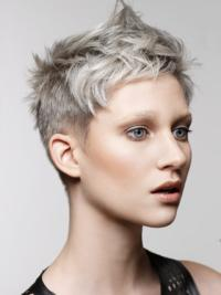 Young Fashion Grey Short Clean Lace Front Human Wigs