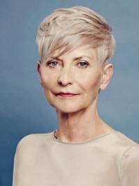 Platinum Blonde Short Haircut For Older Women