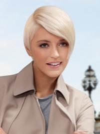 Young Fashion Platinum Blonde Short Lace Front Wigs With Sexy Curve