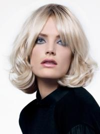 Young Fashion Platinum Blonde Sexy Sensual Chin Length Wavy Lace Front Wigs